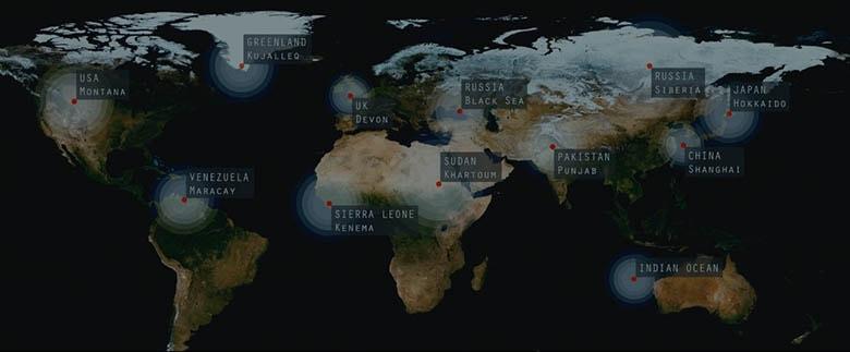 Heptapodların konuşlandığı ülkelerin haritada gösterildiği plan